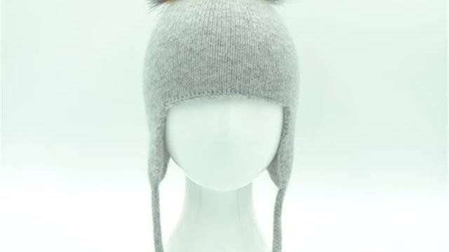 Angora Hat- Real Fur Single Bobble Hat - Baby/Toddler