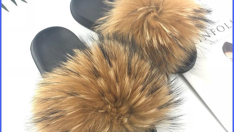 Women Fur Slides -  Luxury