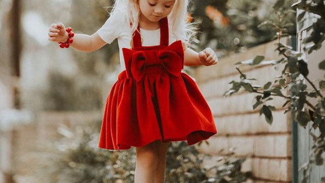 Toddler Kids Baby Girls dress  Red Bow  Outfit Clothes