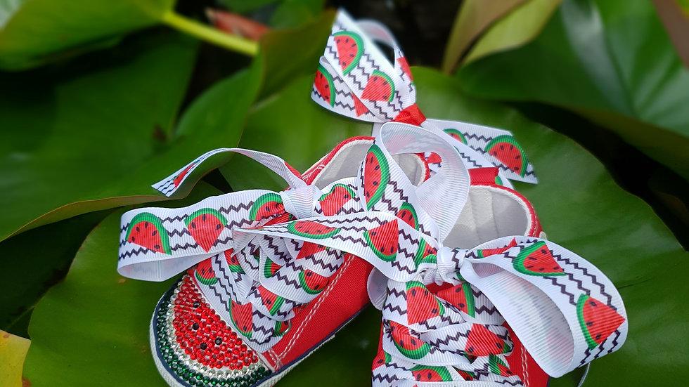Bellablott- Sparkling Watermelon - Rhinestone Shoe & Headband Set