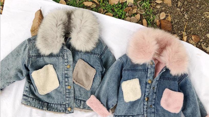 Girls Fur Collar -  Denim Coat  - Winter
