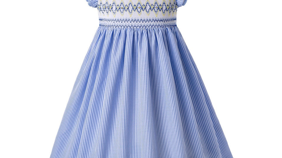 Blue Smocked  - Ruffle Collar Girls Dress