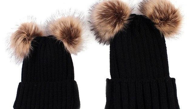 Winter Hat 2PCS Mom Baby Knitting Double Bobble Faux Fur
