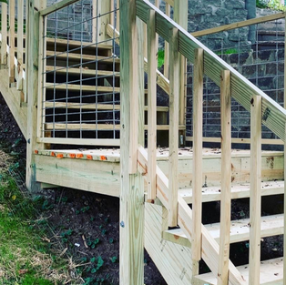 Stairs and Wire fencing