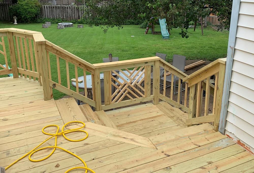 Custom built wood railings in unique pattern, custom railings porch and deck