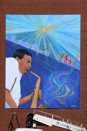 Mural of Jackie McClean, Upper Albany, Hartford, CT, Acrylic Base, 30' x 15'