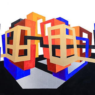 Rosemary Benivegna, Urbanscape #1, Acrylic and Paper