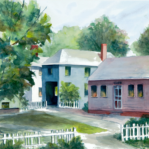 Strawberry Bank Houses, Watercolor, SOLD