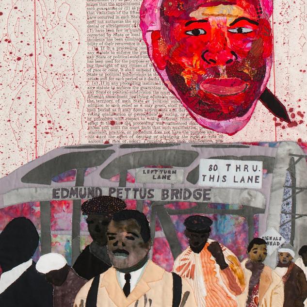 Carol Vinick, John Lewis Dagger in the Heart, Fabric Collage