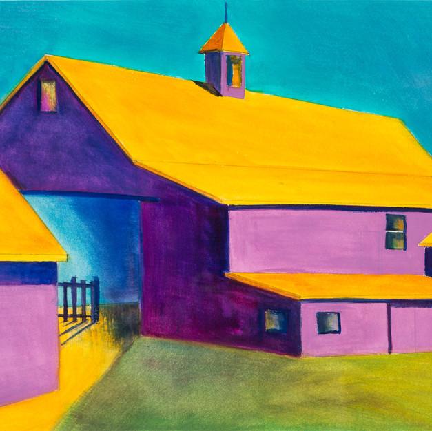 Purple Barn, Watercolor, 10 x 14