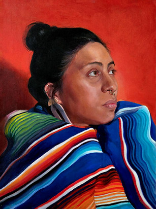 Her Many Colored Blanket, Oil on Linen, 18 x 24