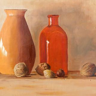 Veronique Fournier-Wynne, Orange Vases, Oil