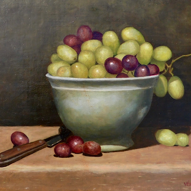 Veronique Fournier-Wynne, Bowl With Grapes, Oil