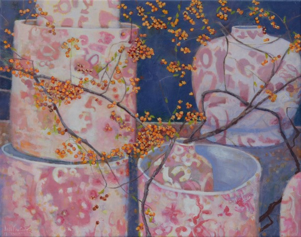 Amy Conover, Pink Chinoiserie, Brussels, Oil
