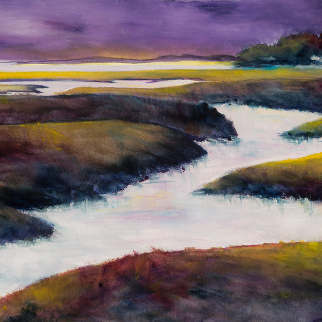 Purple Dusk, Watercolor, 13 x 21