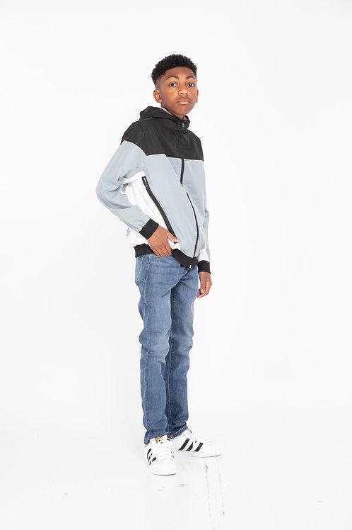 Black and Grey Hooded Jacket