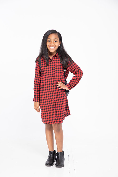 Button-Down Flannel Shirt Dress