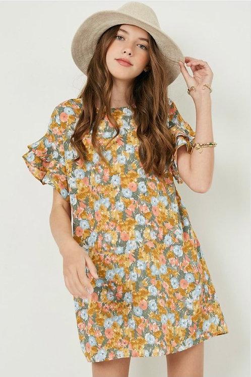 Floral Flutter Sleeves Dress
