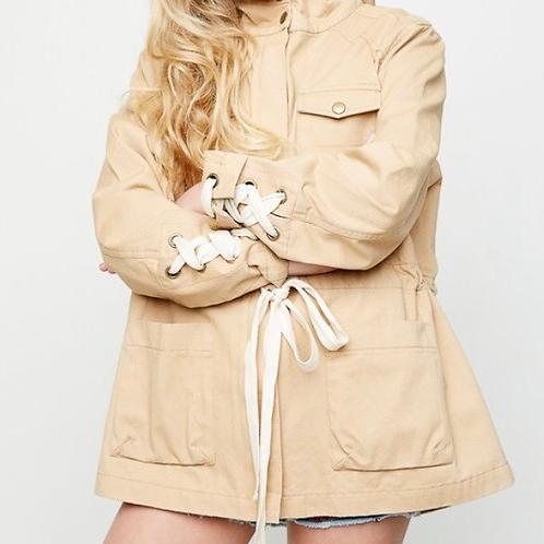 Khaki Lace Up Jacket
