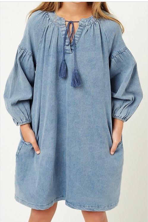 Denim Tassel Dress