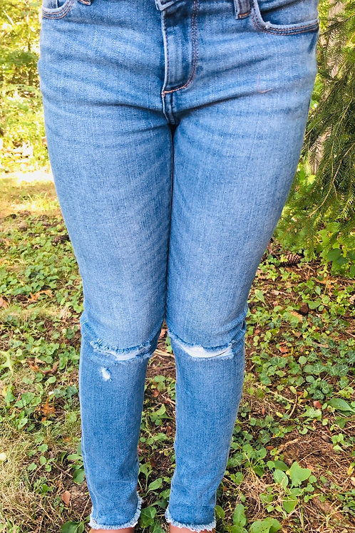 Frayed Jeans with Ripped Knee's