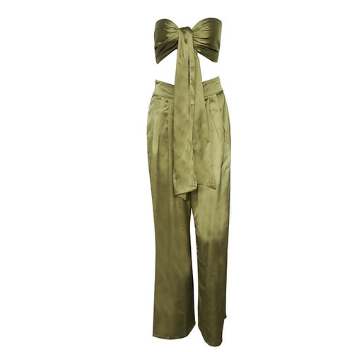 Two Piece Olive Jumpsuit