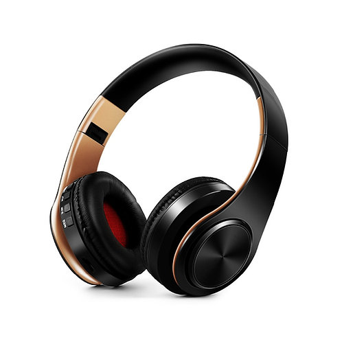Men Gift Gold Wireless Headphones Bluetooth With Build-In MIC With 3.5mm Jack