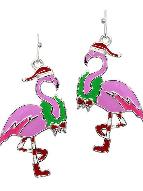 Christmas Flamingo Earrings