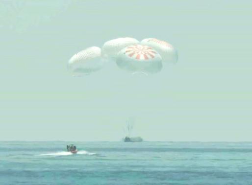 SpaceX Crew Dragon makes ocean landing