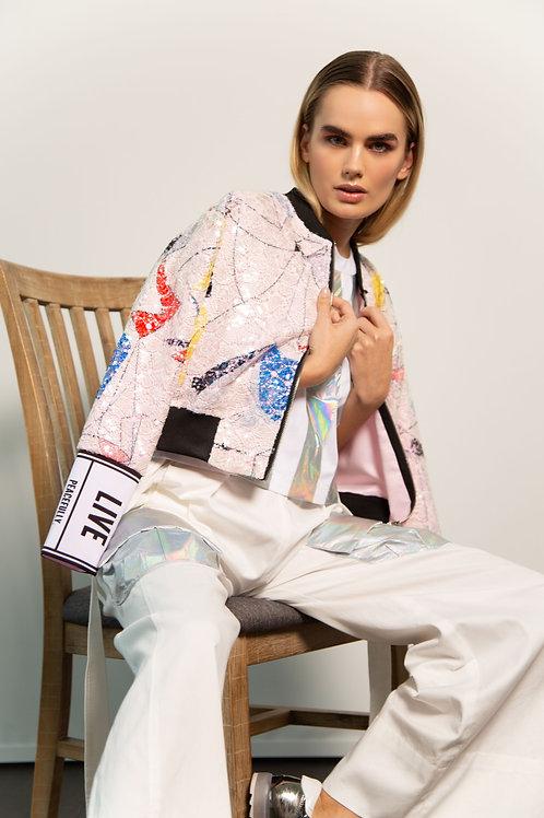 Pink Sequin Bomber Jacket