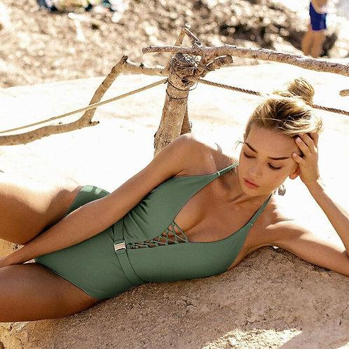 Solid One-Piece Swimsuit Swimwear