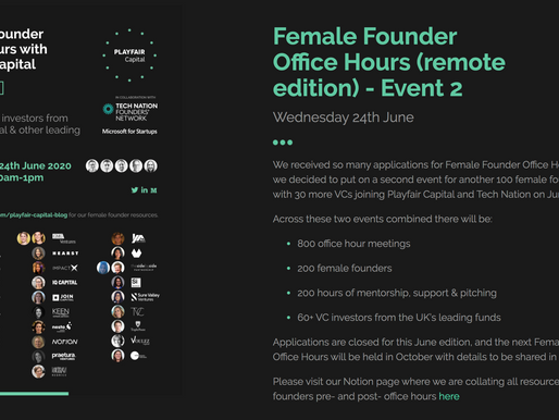 Playfair Capital Female Founder Office Hours