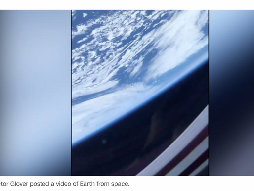 Glimpse of Earth from the astronauts aboard SpaceX capsule
