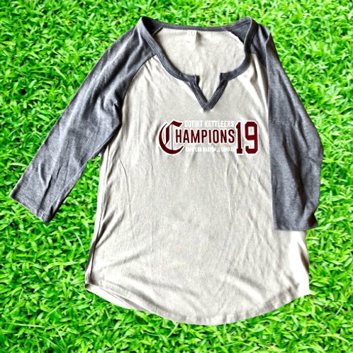 2019 Ladies Championship Baseball Tee 3/4 Sleeve
