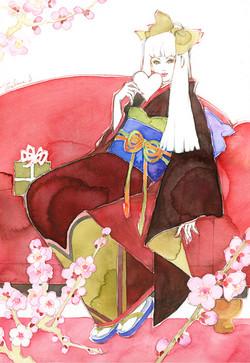 白谷若菜|水彩画による美しい女性画を得意とする