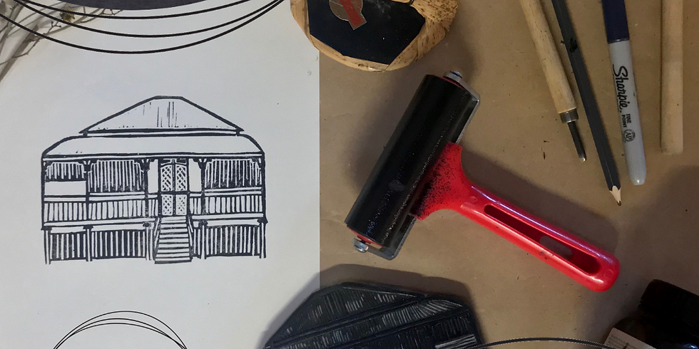 ONLINE Lino Printed House Portrait Workshop with Rebecca Lewis