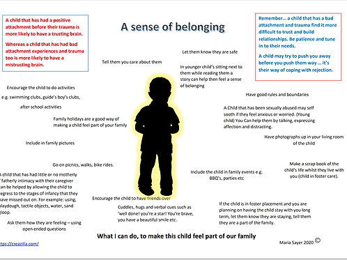 A sense of belonging, great for children who are in Foster Care