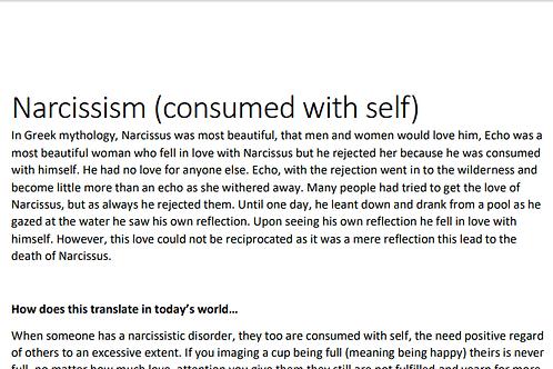 Narcissism handout