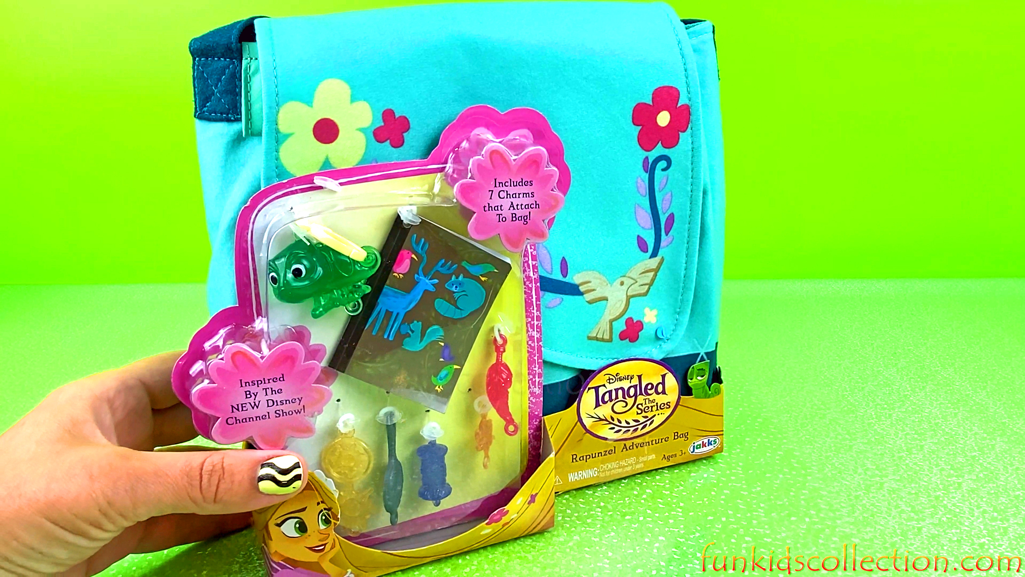 Disney Tangled The Series | Rapunzel Adventure Bag includes 7 Charms that Attach to Bag