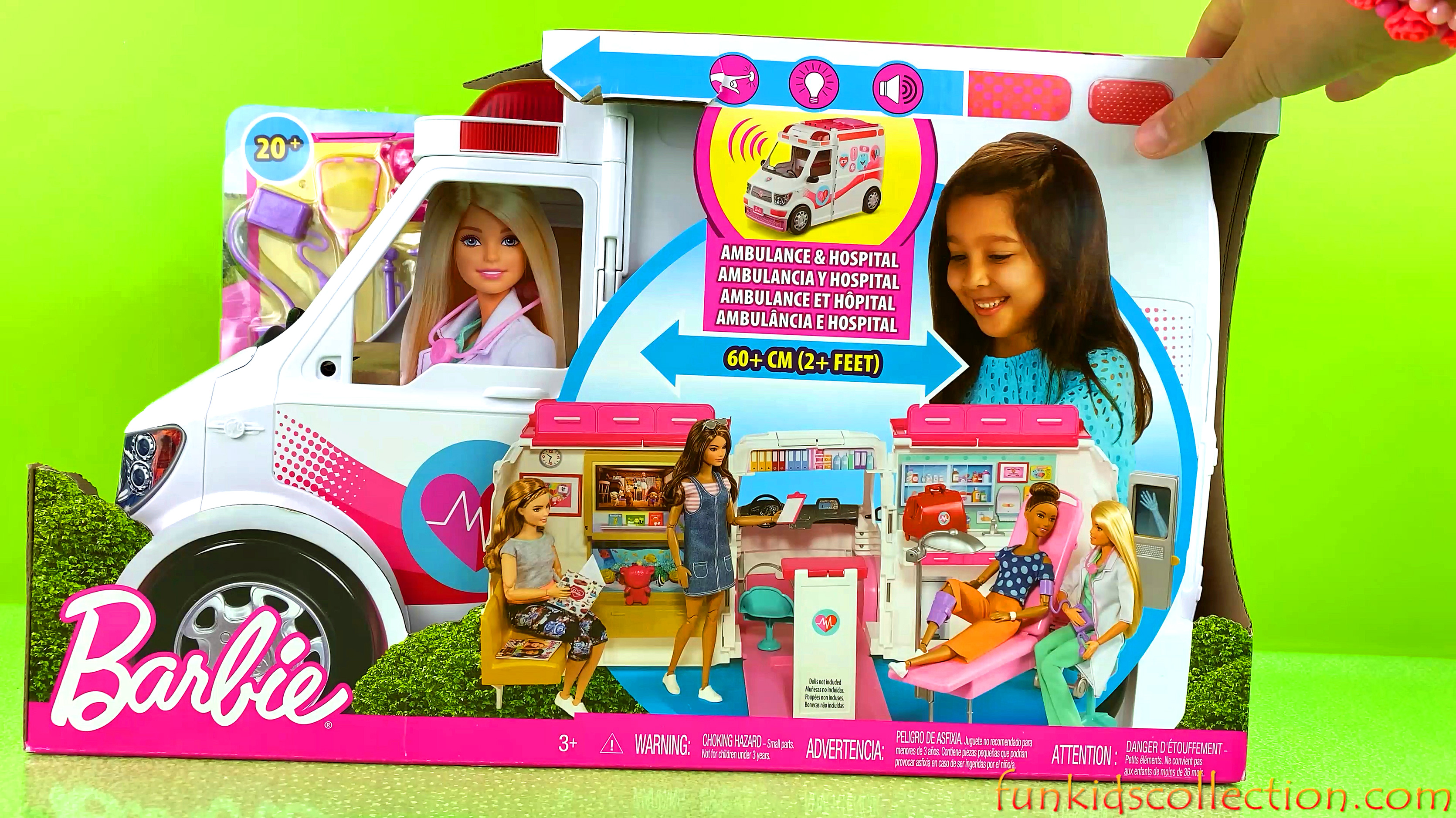 Barbie Ambulance & Hospital Playset Magical Transforms | Barbie Ambulance Mobile Care Clinic Car