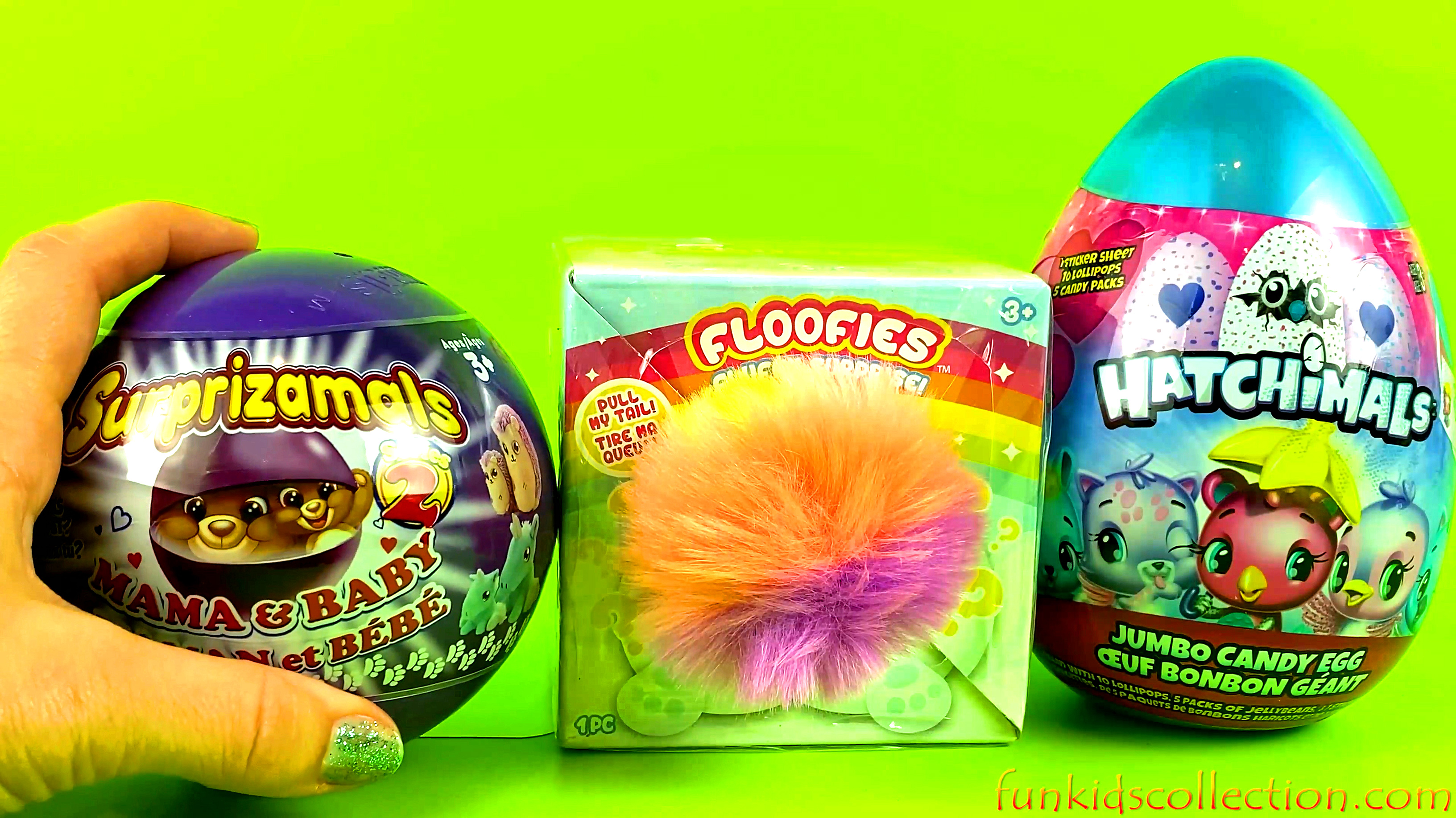 Opening Toy Surprise Surprizamals Mama and Baby Floofies Fluffy Surprise Hatchimals Jumbo Candy Egg