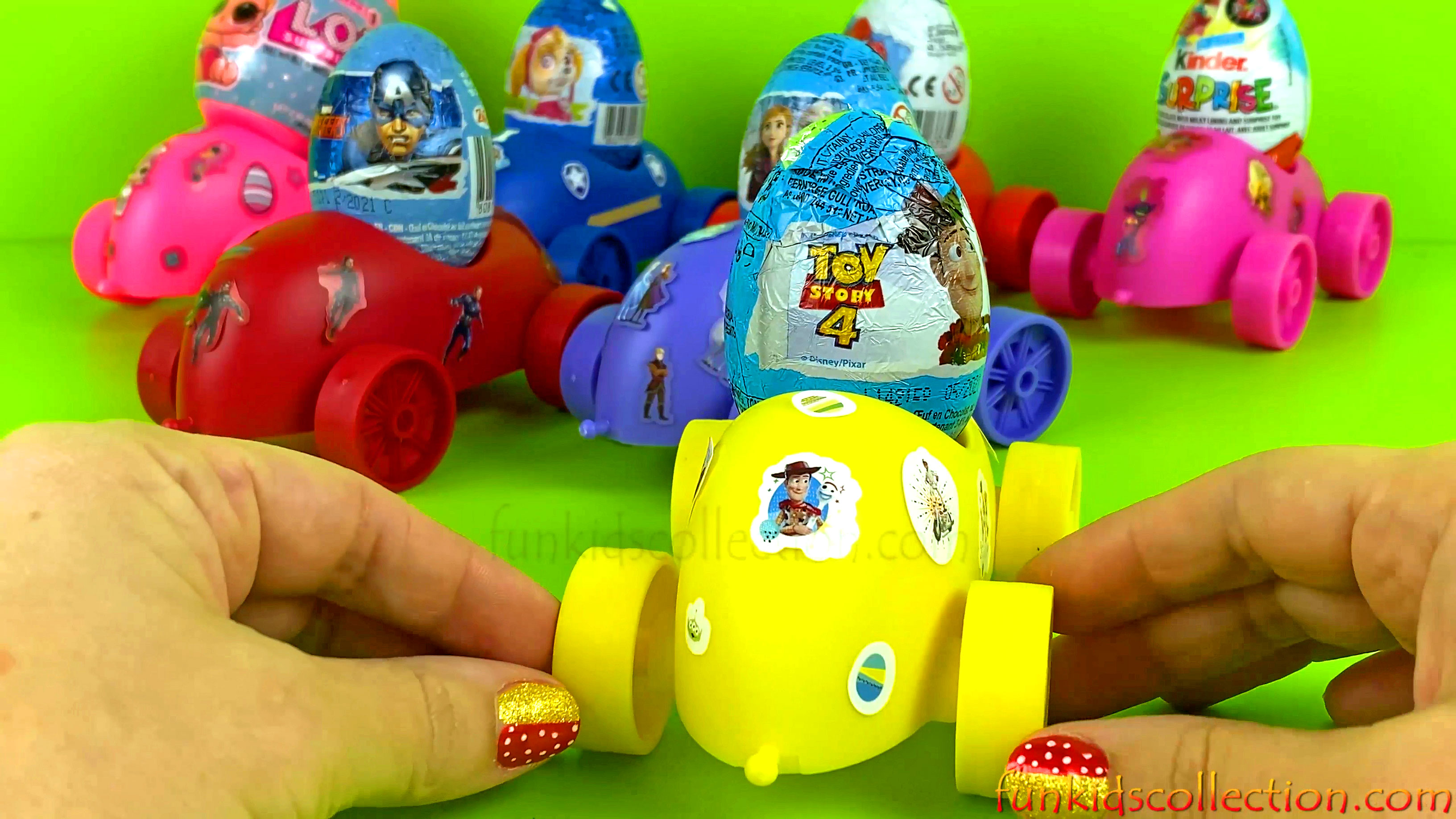 Learn Colors with Egg Racers Frozen 2 Paw Patrol Avengers Spiderman Lol Surprises Toy Story 4 Trolls