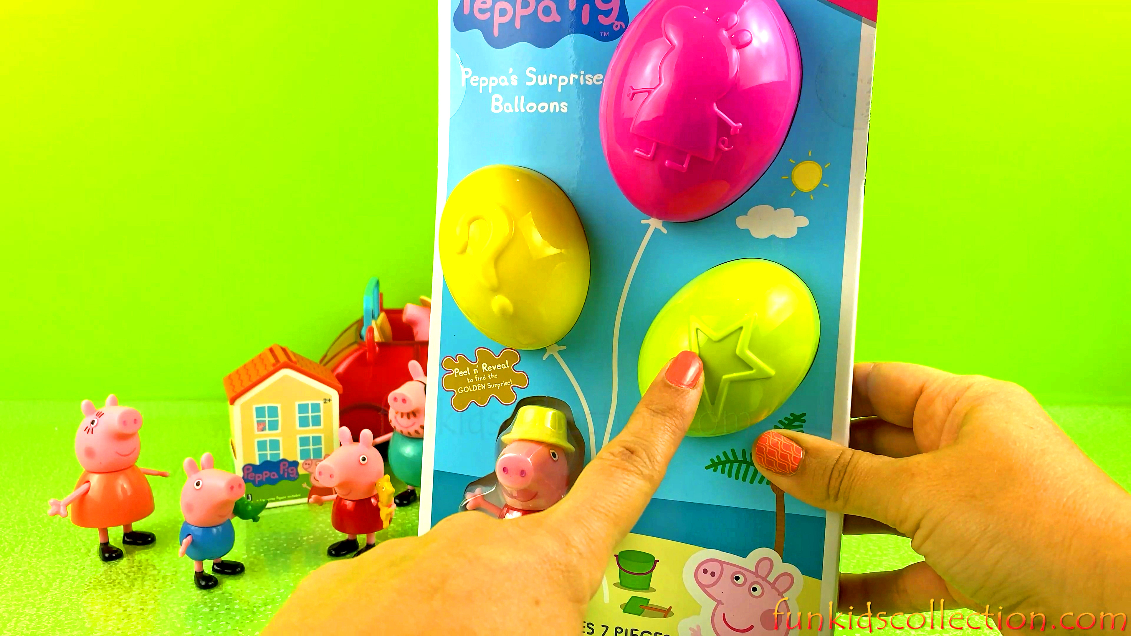 Peppa Pig Surprise Balloons Series 1 in the Beach| Peppa Pig Peal n' Reveal the Golden Surprise