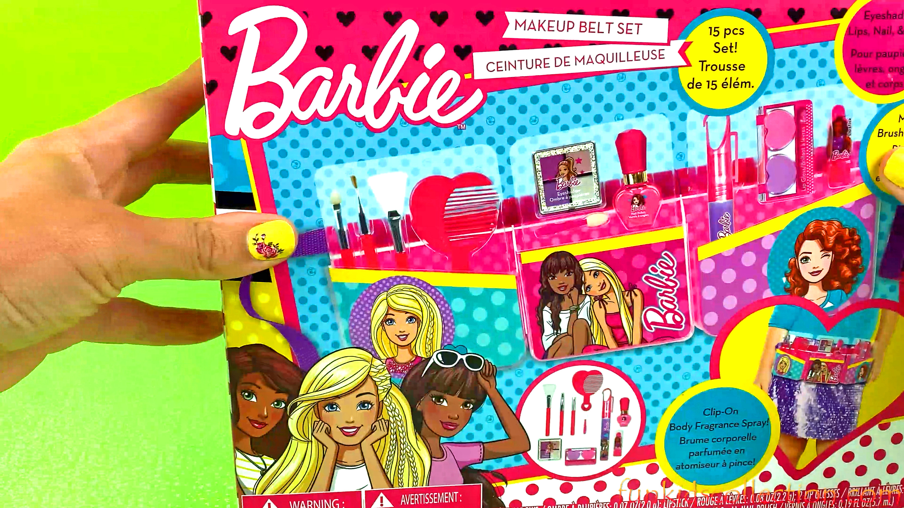 Barbie Makeup Belt Set 15 pcs | Barbie Eyeshadow Lips Nail Body Makeup Brushes and more