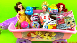Disney Princess Shovel Wagon full of Toy Surprises Opening Smooshy Mushy Air Besties and more..