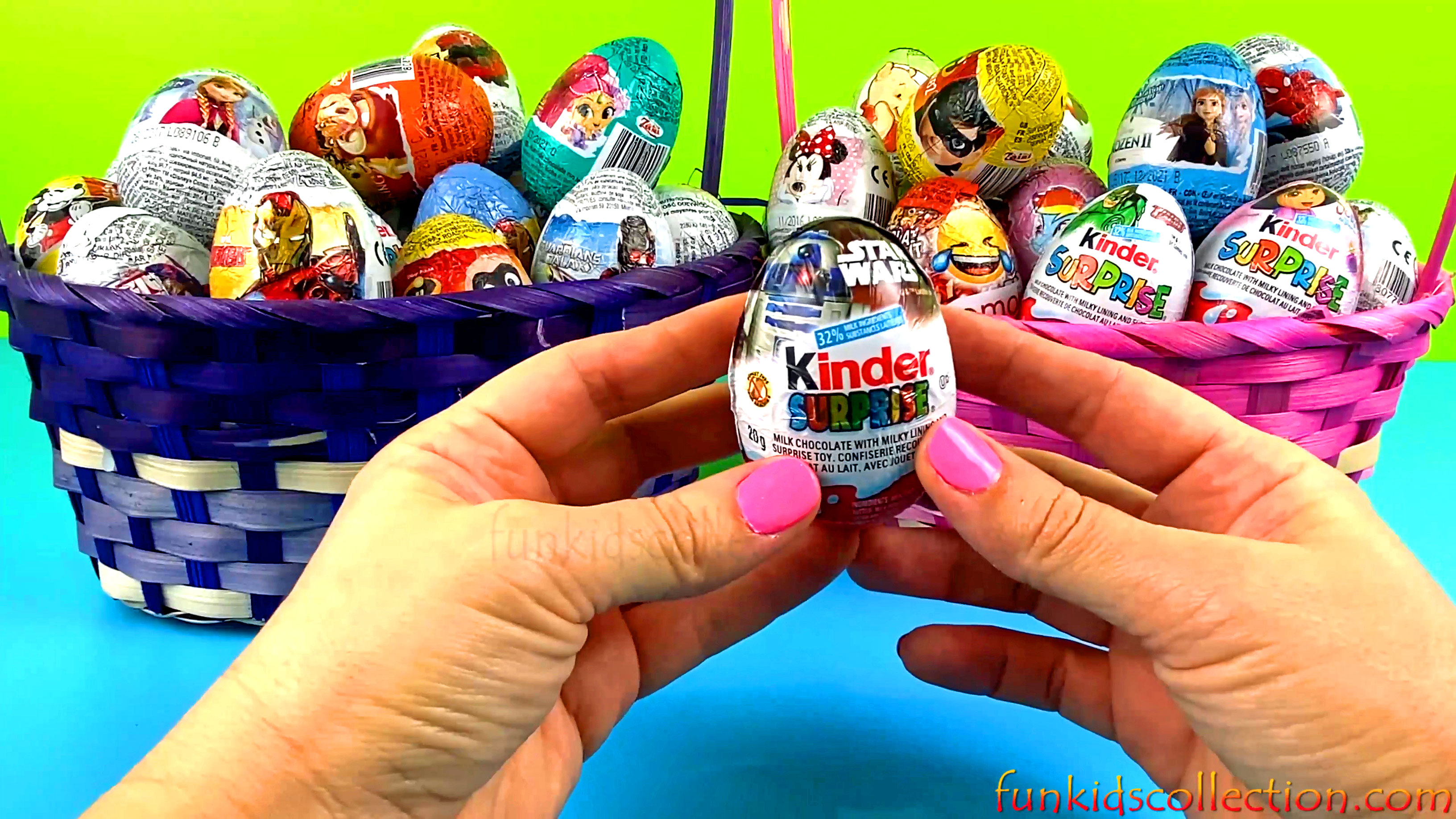 2 Baskets Full Egg Surprises Opening 40 Eggs Surprises of Kinder Egg Surprises and Zaini Egg Surpris