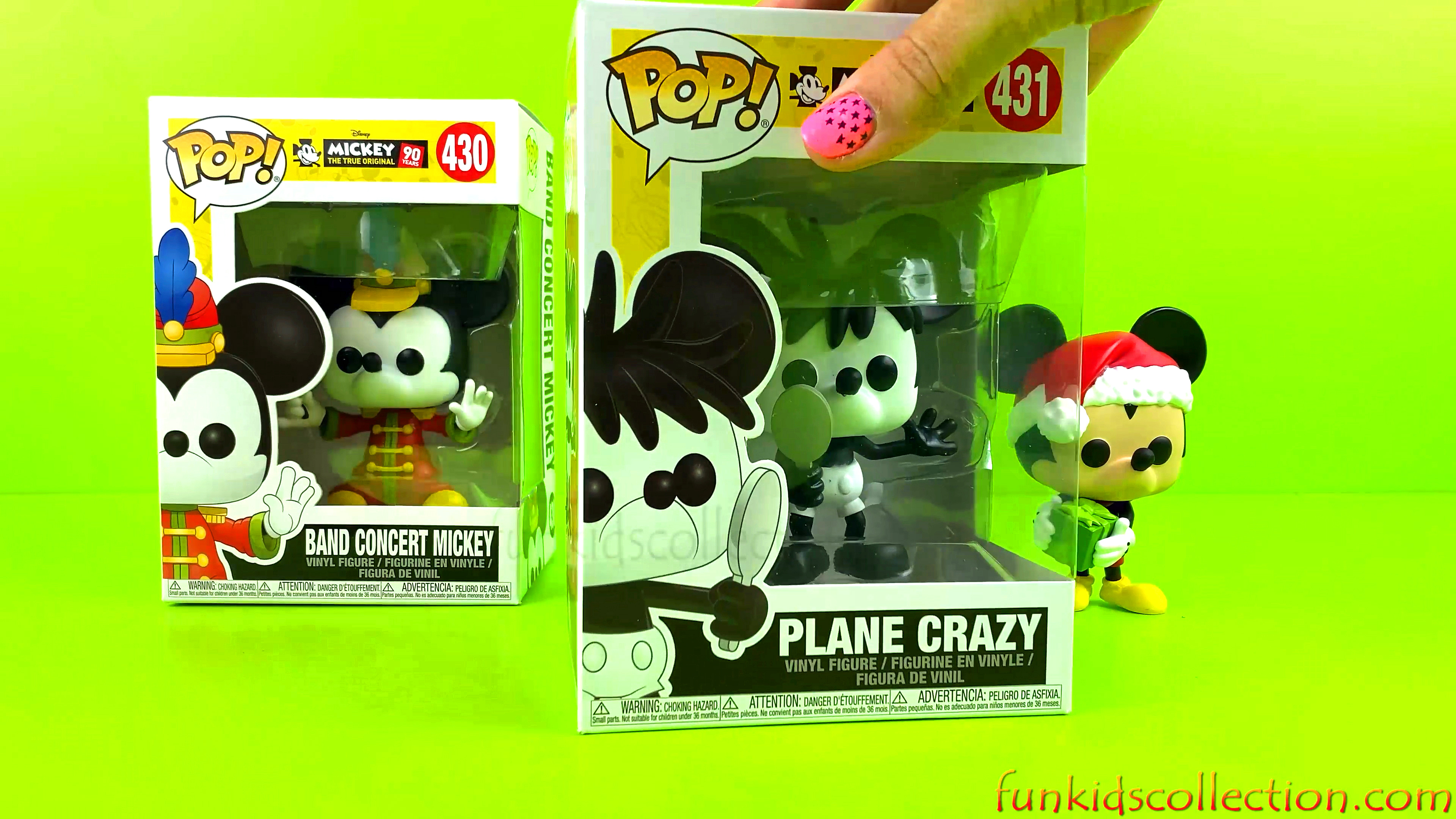Opening Pop Funko Disney Mickey Vinyl Figure Band Concert Mickey Holiday Mickey Plane Crazy Mickey