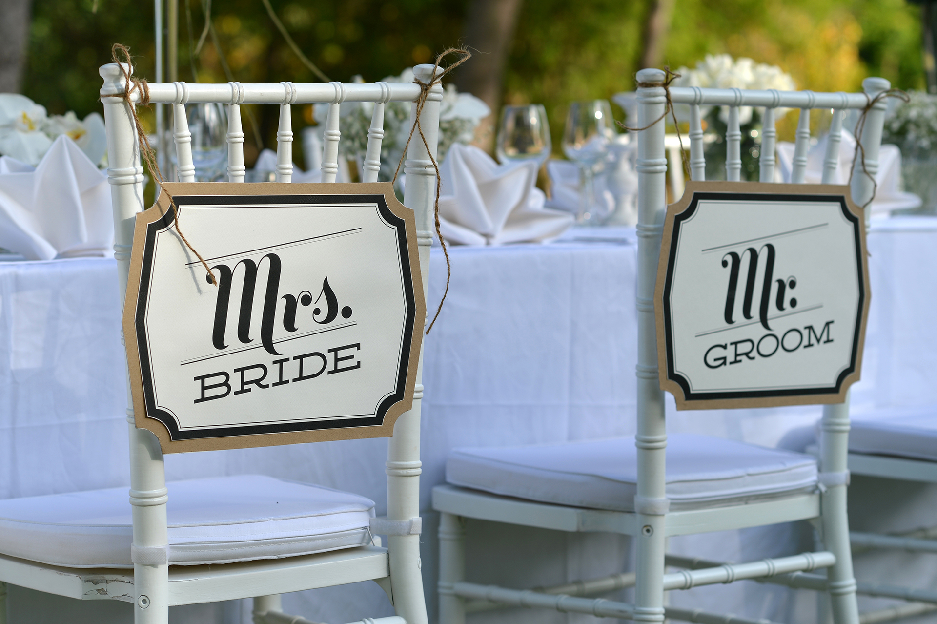 """Mr. and Mrs."" Chair Decorations"
