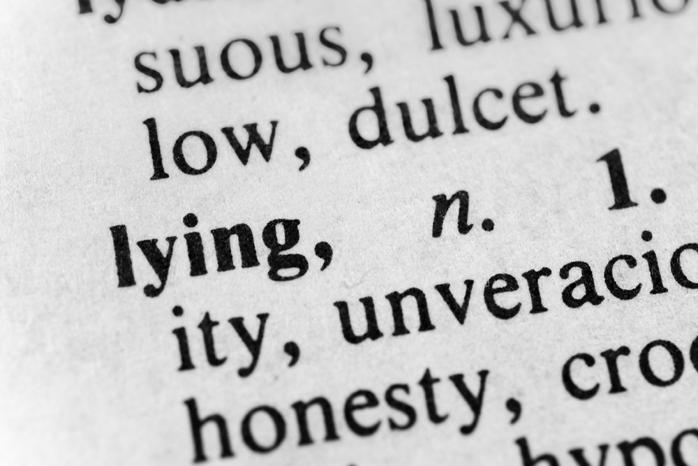 "An incomplete dictionary excerpt for the word ""lying"""