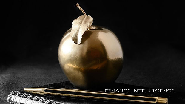 Finance Intelligence gold apple on books